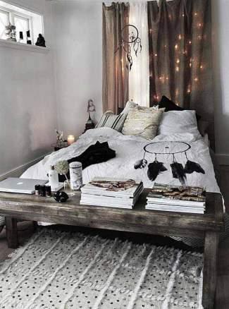 dormitorio-boho-blanco-y-negro