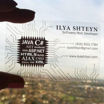 Clear Business Card Design - Programmer
