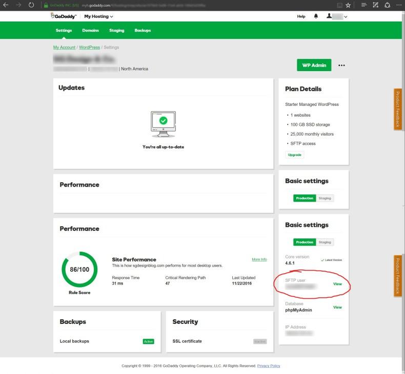 Managed WordPress hosting details