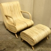 Bamboo Flow Chair with Stool, Curved chair, balcony furniure, outdoor furniture, pool furniture