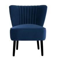 French Navy Velvet Slipper Chair - StellaJane Interiors