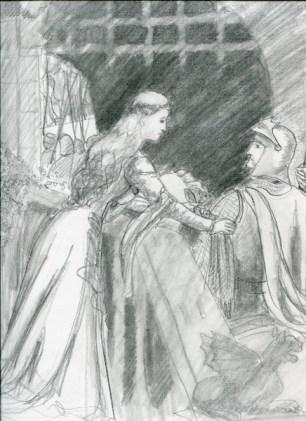 "Sketch of ""Godspeed"" by Edmund Leighton"