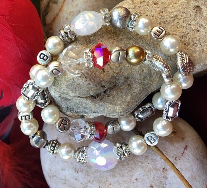 6 MM White / Silver Bride with Red Crystal