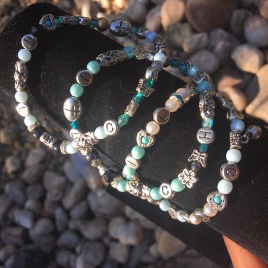 4 MM 3 Bracelet set Teal / Baby blue