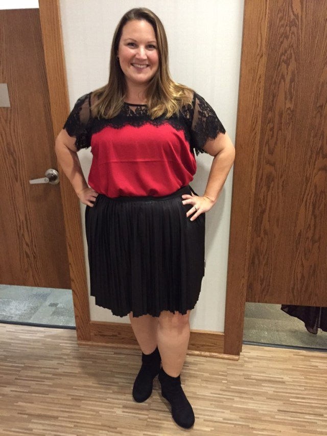 Here's an outfit I picked out at Torrid that's a departure for me — pleated, leather skirt with a lacy blouse in a color I rarely gravitate toward — red!