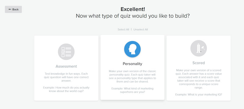 Select the type of quiz you want to create