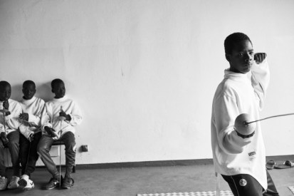Minors incarcerated at a nearby prison participate in a match during a fencing session at a studio in the city of Thiès, Senegal on May 2, 2015. Supported by OSIWA, organisation 'Pour un sourire d'enfant' has implemented the sport of fencing as a form of restorative justice in a minor's prison for males and females in the city of Thiès, Senegal. This innovative judicial method works as a restorative rather than punitive approach to justice. Fencing is an effective method for helping incarcerated young people build self-confidence and respect (both for themselves and others), and engender discipline and determination.