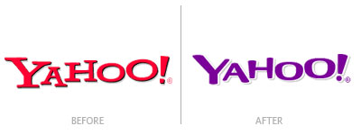 Old and new Yahoo! logos