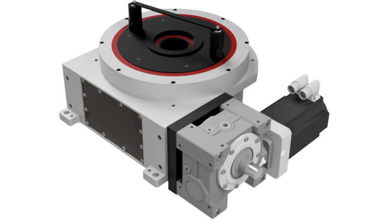 Servo driven rotary indexer with overdrive clutch