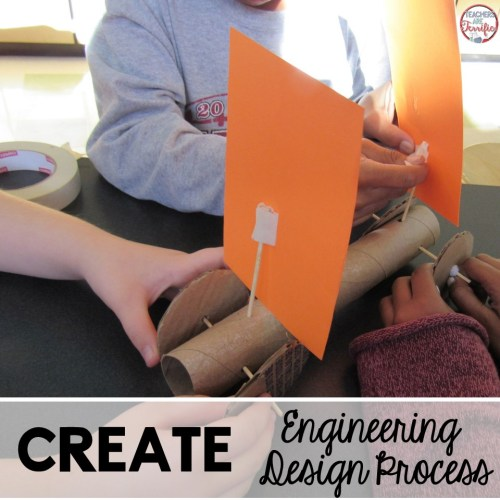 The Engineering Design Process Step 4 is the Create step. This is when kids get busy building, testing, and rebuilding!
