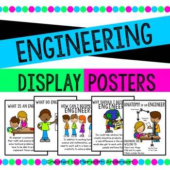Posters included: What is an engineer? What do engineers do? How can I become an engineer? Why should I become an engineer? Anatomy of an engineer