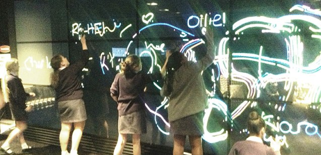 Little Stemettes play with the largest touchscreen in Europe, at Accenture