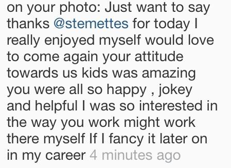 Feedback left on one of our Instagram photos