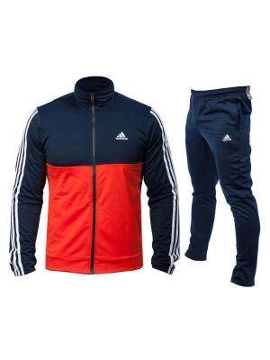 Trening barbati Adidas cu croi clasic portocaliu cu bleumarin si dungi albe