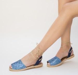 Sandale dama casual albastre cu sclipici cu prindere in snur