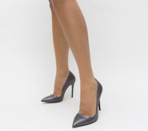 Pantofi dama eleganti gri din material lucios cu toc subtire inalt