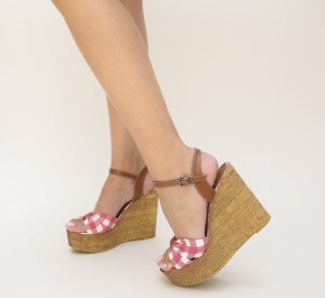 Platforme dama inalte cu rosu si alb cu talpa maro