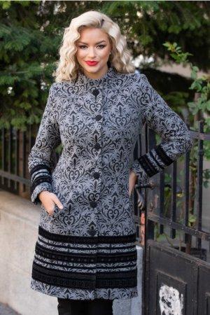 Palton dama gri eleganta din lana cu insertii negre si buzunare ascunse