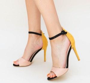 Sandale dama elegante multicolore din piele eco intoarsa cu toc cui