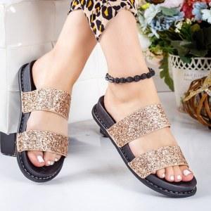 Papuci dama casual aurii cu sclipici si talpa neagra