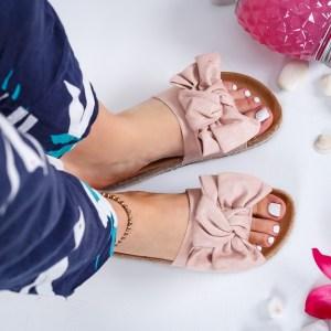 Papuci dama casual de vara roz cu fundita foarte lejeri
