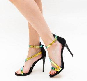Sandale dama elegante negre cu barete multicolore si toc subtire inalt