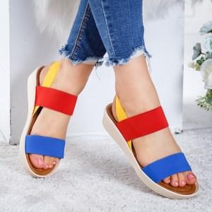 Sandale dama casual de vara multicolore cu talpa groasa