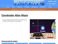 Mathframe's Coordinates Alien Attack
