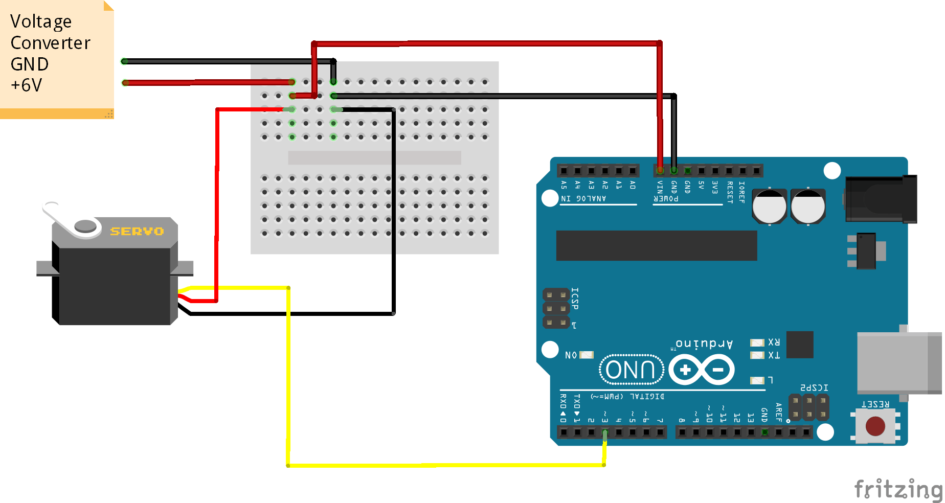 hight resolution of caution power servos using a 6v 2a power adapter for smooth functioning of servo motor