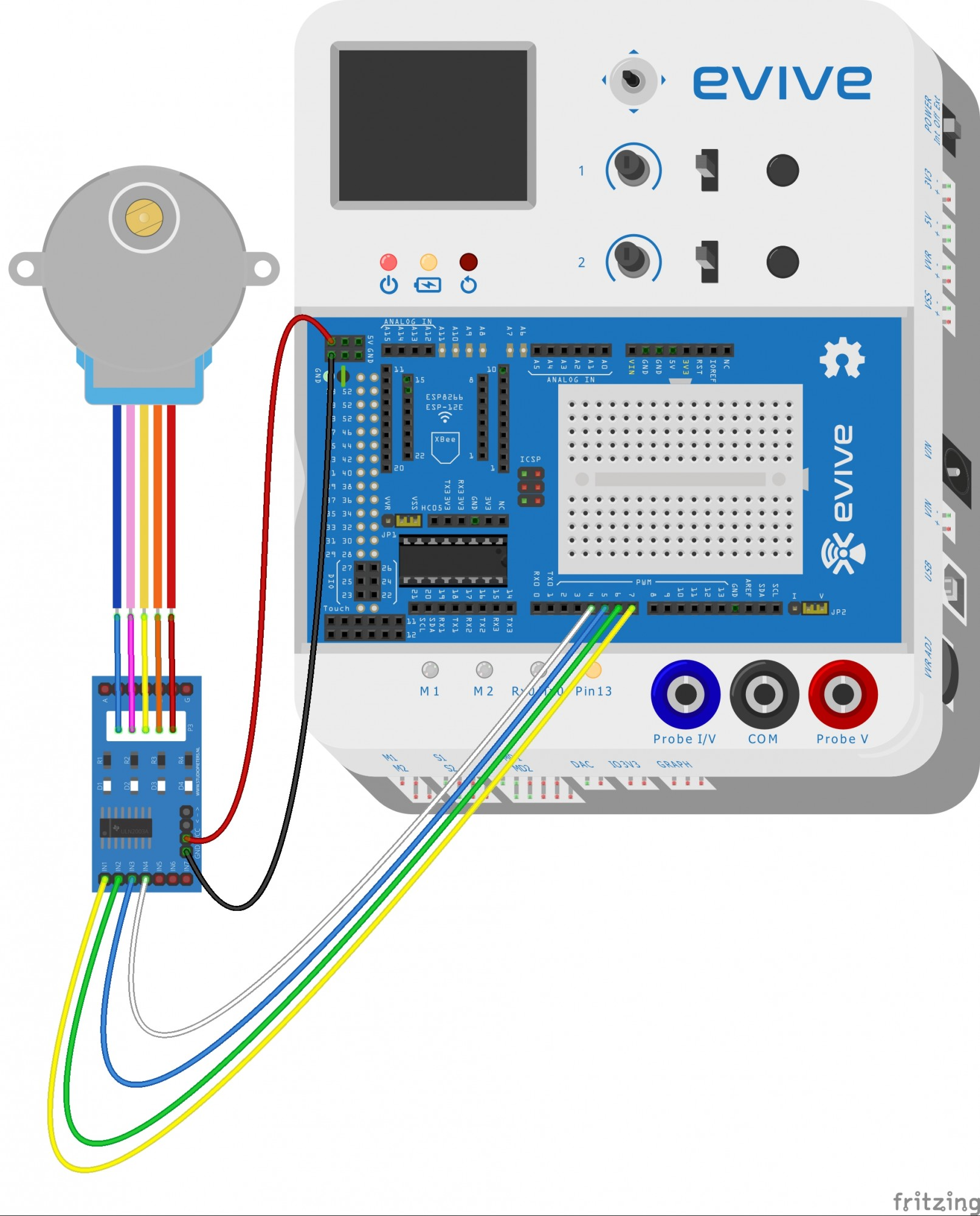 hight resolution of connect 28 byj48 stepper motor 5 wire female bus with uln2003 stepper motor driver male bus as shown in figure