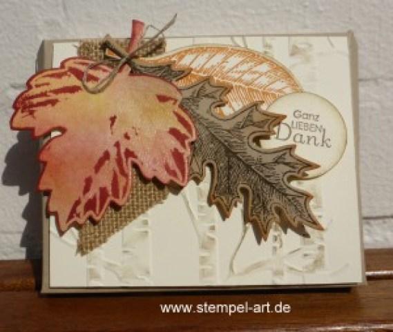 Herbstliche Schokoladenverpackung nach StempelART - quadratisch, praktisch, gut; Vintage Leaves (2)