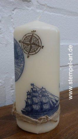 Maritime Geburtstagskarte mit Kerze nach StempelART, The Open Sea (2)