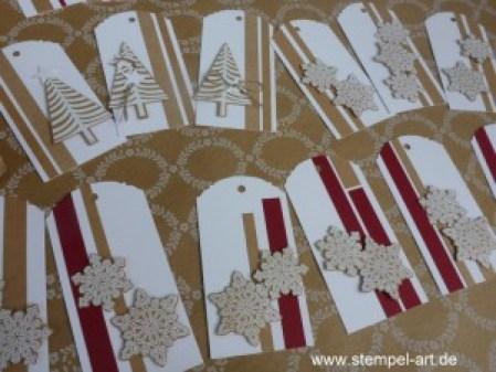 Stampin up Geschenkanhänger nach StempelART, eleganter Anhänger Stanze, Christbaumfestival, Tannenbaumstanze, Flockenzauber (3)