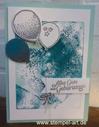 Stampin up Acrylblocktechnik nach StempelART,Partyballons, Hoch hinaus, dreifach einstellbare Fähnchenstanze