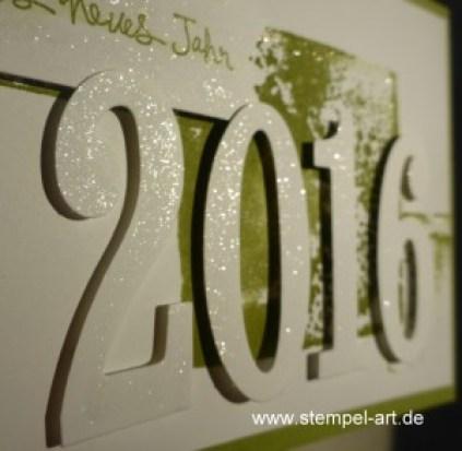 Stampin up Neujahrsgruß nach StempelART, Große Zahlen, Stanze Herzblatt, Wink of Stella, Itty Bitty Akzente