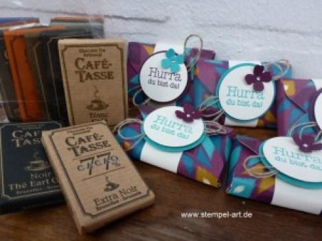 Stampin up Goodie nach StempelART, Punchboard, Stanz - und Falzbrett für Umschläge, Wunderbare Worte, Itty Bitty Akzente, Schokoladenverpackung