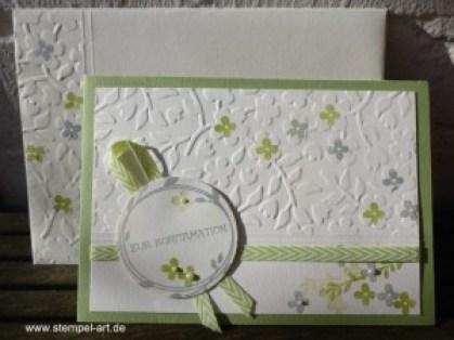 Stampin up Konfirmation nach StempelART, Eins für Alles, Prägeform Frühlingsblumen