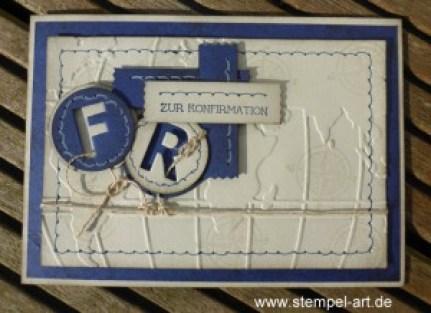 Stampin up Portemonnaie und Karte zur Konfirmation nach StempelART, Weltkarte, The Open Sea, Beeindruckende Buchstaben, Männer, Faux Stitching Technique, Stanze Abreißetikett, Eins für Alles