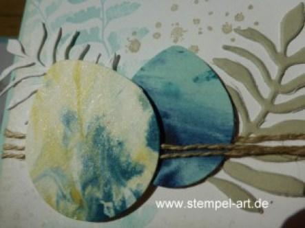 Osterkarte in Rasierschaumtechnik nach StempelART, Stampin up, Stanze Eleganter Schmetterling, Stanze Mini Schmetterling, Stanze Luftballons, Awesomely Artistic, Ein duftes Dutzend, Framelits Pflanzen Potpourri