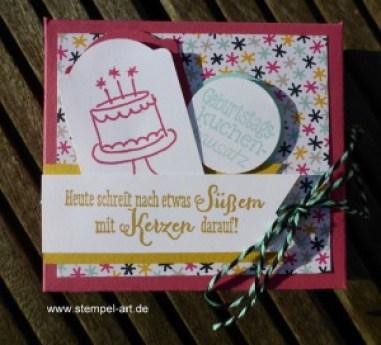 Geburtstagskuchenbausatz nach StempelART, Stampin up, dreifach einstellbare Fähnchenstanze, Geburtstagsallerlei, Party Grüße, Worte, die gut tun, Geburtstagspuzzle, Elementstanze Baum