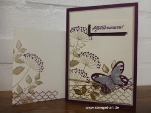 Willkommen nach StempelART,Stampin up,  Summer Silhouettes, Stanze Eleganter Schmetterling, Framelits Schmetterling, Eins für Alles