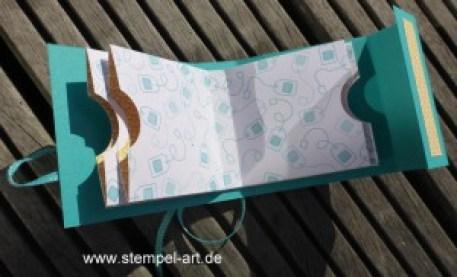 Teebüchlein nach StempelART, Stampin up, Teestunde, Teeverpackung, Vollkommene Momente, Partyballons, Sags mit Fähnchen, Leise rieselt