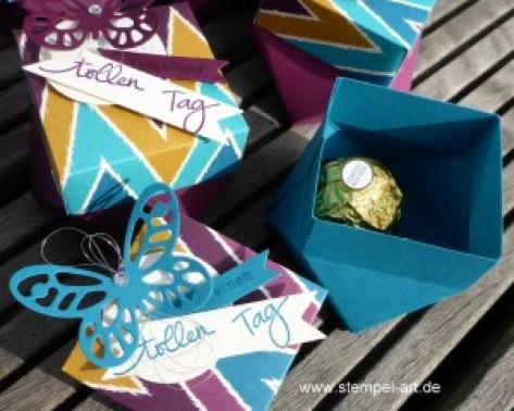 Diamantbox nach StempelART,Stampin up, Stanz - und Falzbrett für Geschenktüten, Designerpapier Boheme, Schmetterling, Geburtstagspuzzle, Stanze Fähnchen, dreifach einstellbar