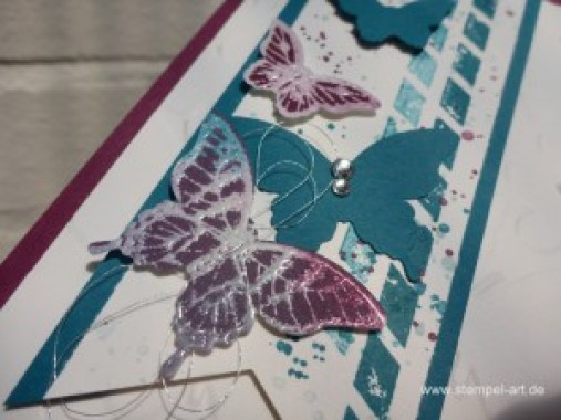 Schmetterlingskarten nach StempelART, Josephs Coat Technique, Stampin up, Papillon Potpourri, Stanze Eleganter Schmetterling, Stanze Minischmetterling, Gorgeous Grunge, Perpetual Birthday Calendar , Schmetterlingsschwarm, Technikbuch