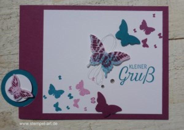 Schmetterlingskarten nach StempelART, Josephs Coat Technique, Stampin up, Papillon Potpourri, Stanze Eleganter Schmetterling, Stanze Minischmetterling, Gorgeous Grunge, Perpetual Birthday Calendar , Schmetterlingsschwarm, Blühende Worte, Technikbuch