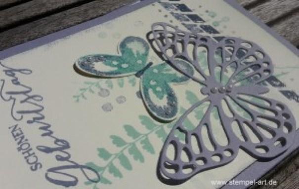 Schmetterlingsgruß nach StempelART, Stampin up, Water Color Wings, Lesezeichen Karte, Anleitung, Schmettering, Schmetterlinge