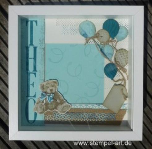 Bilderrahmen nach StempelART, Stampin up, Ikea Bilderrahmen Ribba, Unentbärliche Grüße, Stanze Luftsballons, Timeless Textures, Thinlits Blütenpoesie, Letters For You, Große Zahlen, Beeindruckende Buchstaben