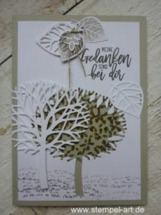 Wald der Worte nach StempelART, Stampin up, Meereswellen, Blatt und Blüte, Trauer, Baum der Freunschaft