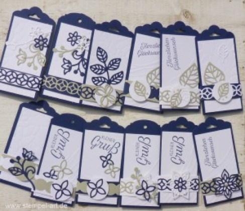 Minikärtchen nach StempelART, Stampin up, Blütenpoesie, Blühende Worte, Blättermeer, Meereswellen, Stanze Eleganter Anhänger, Stanze Gewellter Anhänger