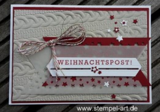 Grüße vom Weihnachtsmann nach StempelART, Stampin up, Tiefen - Prägeform Zopfmuster, Grüße vom Weihnachtsmann, Weihnachtsmann, Jolly Friends